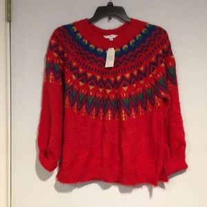 Time and Tru fuzzy red winter sweater NWT